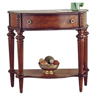 Offex Traditional Crafted Demilune Solid Wood Console Table in Plantation Cherry Finish - Dark Brown
