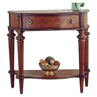 Traditional Crafted Demilune Solid Wood Console Table in Plantation Cherry Finish - Dark Brown