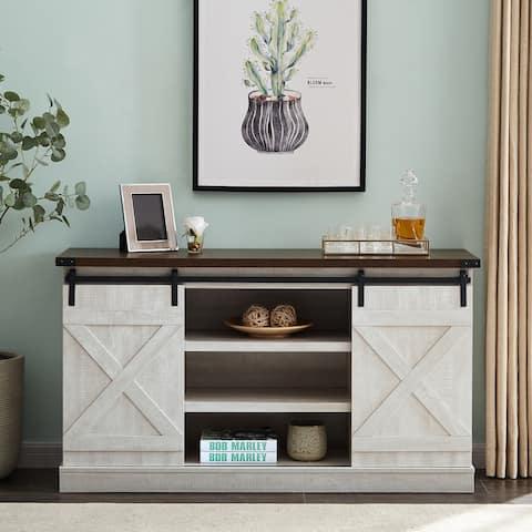 TiramisuBest sliding barn door TV cabinet with storage space-white