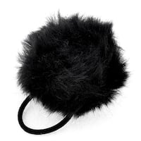 Unique Bargains Plush Ball Decor Black Elastic Hair Tie Ponytail Holder Gift for Lady