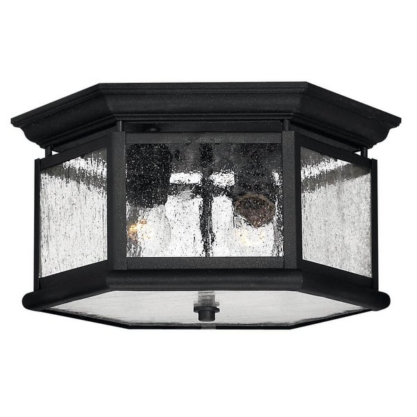 Hinkley Lighting H1683 2-Light Outdoor Flush Mount Ceiling Fixture from the Edgewater Collection - Black - N/A