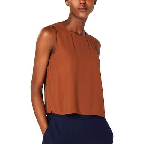 Eileen Fisher Womens Petites Shell Silk Round Neck - PS