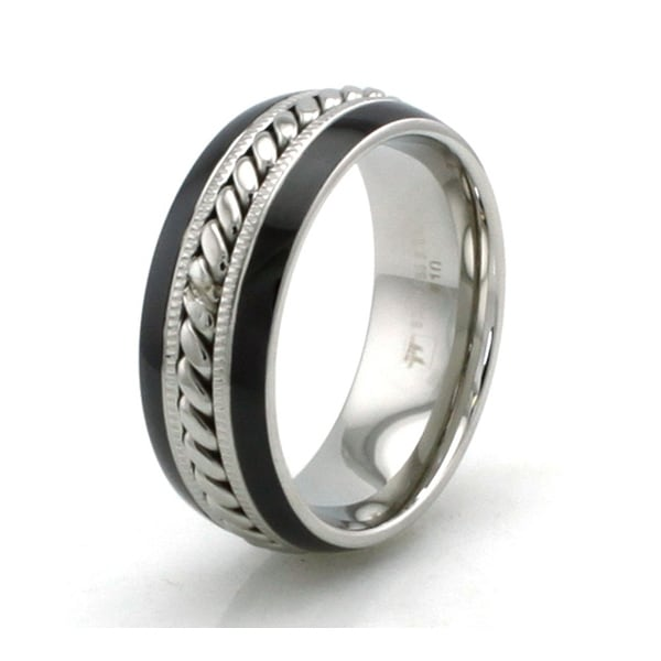 Two-Tone Stainless Steel Ring w/ Center Rope Pattern