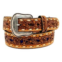 Nocona Western Belt Mens Inlay Floral Tooled Lacing Tan Blue