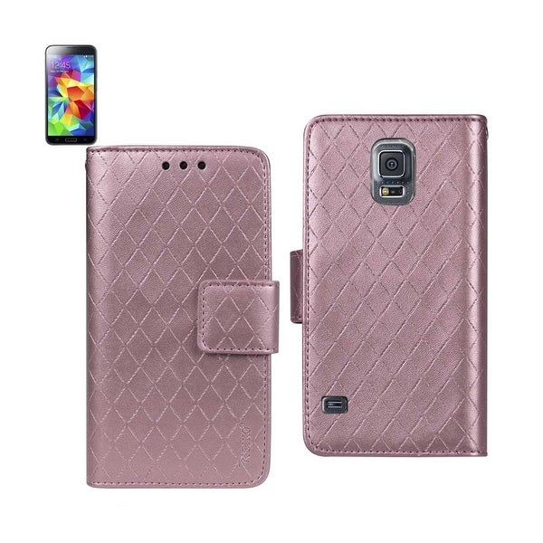 REIKO SAMSUNG GALAXY S5 RHOMBUS WALLET CASE IN PINK