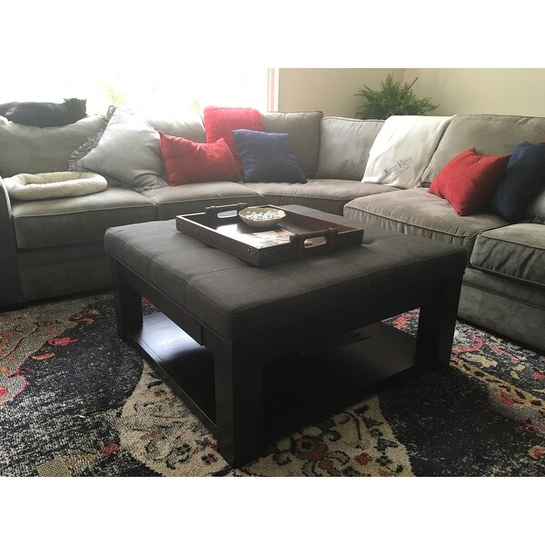 lennon espresso square storage ottoman coffee table by inspire q classic free shipping today