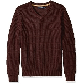 Nautica NEW Red Burgundy Mens Size Medium M V-Neck Ribbed-Knit Sweater