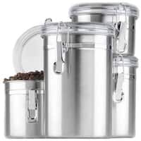Anchor Hocking 4-Piece Round Stainless Steel Canister Set With Clear Lid
