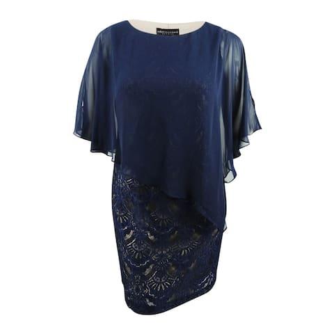 Connected Women's Plus Size Lace & Chiffon Popover Dress