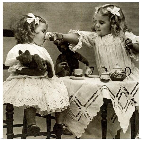 """Girls at tea party"" Poster Print"