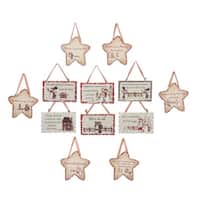 "Pack of 144 Assorted Star and Rectangle Family Sentiment Plaque Christmas Ornaments 3.5-4"" - brown"