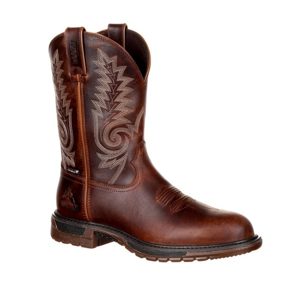 "Rocky Western Boot Men Original Ride FLX 11"" Leather Tan Brown"