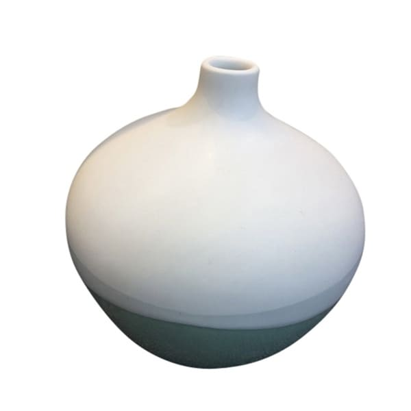 Simply Stylish Decorative Ceramic Vase, White And Green