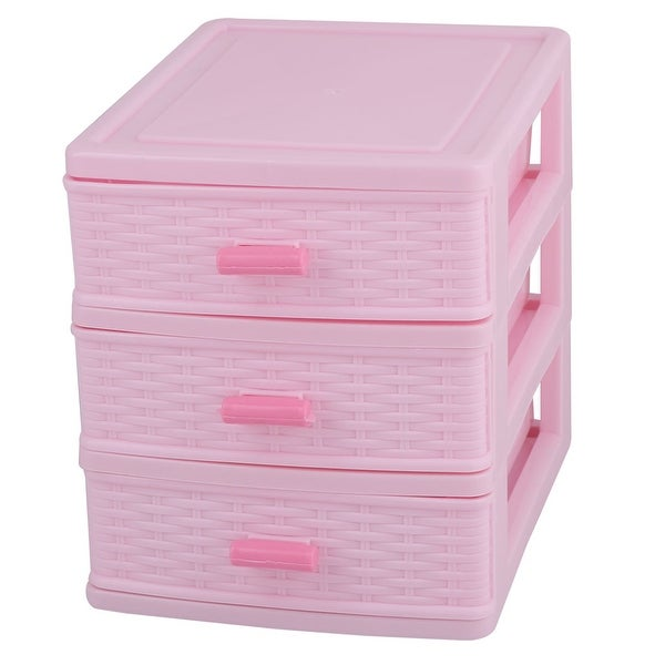 Family Plastic 3 Layers Jewelry Pen Sundries Storage Cabinet Container Case Box Pink