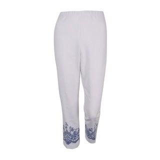 Karen Kane Women's Printed Pull-On Cropped Pants (White, 10) - 10