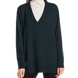 French Connection NEW Forest Green Womens Size Large L V-Neck Sweater