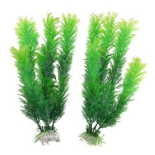 2pcs Ceramic Base Green Art Plastic Water Plants for Fish Tank