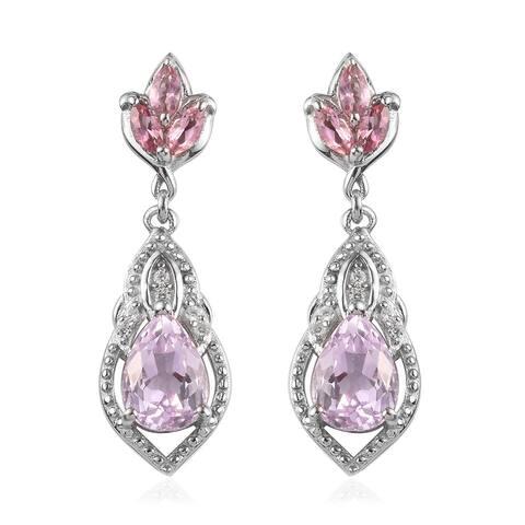 Sterling Silver Kunzite Pink Tourmaline Dangle Drop Earrings Ct 3.8