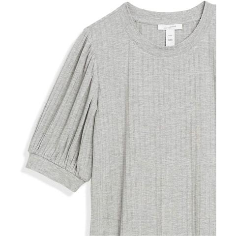 Brand - Daily Ritual Women's Rayon Spandex Wide Rib Puff Sleeve Top