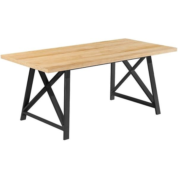 2xhome light wood modern table steel frame metal leg for Dining room tables light wood