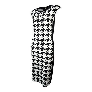 Calvin Klein Women's Crewneck Houndstooth Knit Sheath Dress