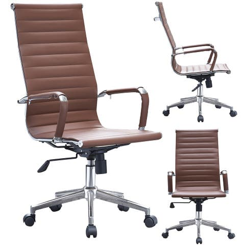 2xhome Brown Executive Ergonomic High Back Office Chair Ribbed PU Leather Adjustable for Manager Conference Computer Desk