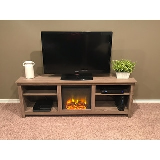 shop 70 tv stand console with fireplace driftwood 70 x 16 x 24h on sale free shipping. Black Bedroom Furniture Sets. Home Design Ideas