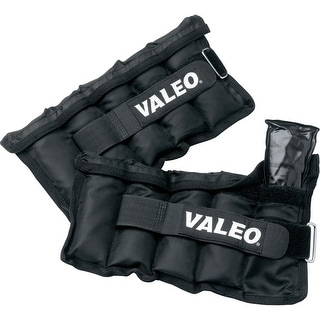 Valeo 10 lb. Adjustable Ankle/Wrist Weights, Black, Pair - 10 lb