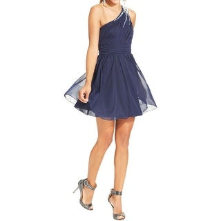 Roberta Womens Juniors Cocktail Dress Beaded One Shoulder
