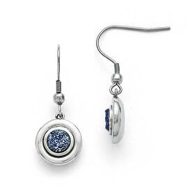 Chisel Stainless Steel Polished Druzy Shepherd Hook Earrings