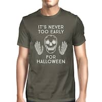 It's Never Too Early For Halloween T-Shirt Mens Gray Skull Shirt