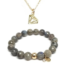 "Julieta Jewelry Set 10mm Grey Labradorite Emma 7"" Stretch Bracelet & 10mm Diamond Charm 16"" 14k Over .925 SS Necklace"