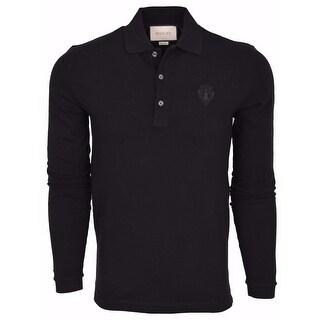 New Gucci Men's 441690 Black SLIM Fit Hysteria Crest Cotton Polo Shirt Large
