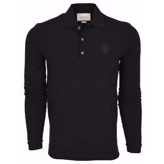 New Gucci Men's 441690 Black SLIM Fit Hysteria Crest Cotton Polo Shirt Medium