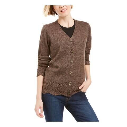 KAREN SCOTT Womens Brown 3/4 Sleeve V Neck Button Up Sweater Size M