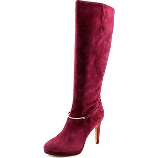 Nine West Pearson Wide Calf Women Round Toe Suede Burgundy Knee High Boot