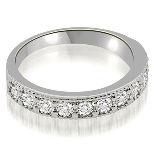 0.77 cttw. 14K White Gold Classic Milgrain Round Cut Diamond Wedding Band