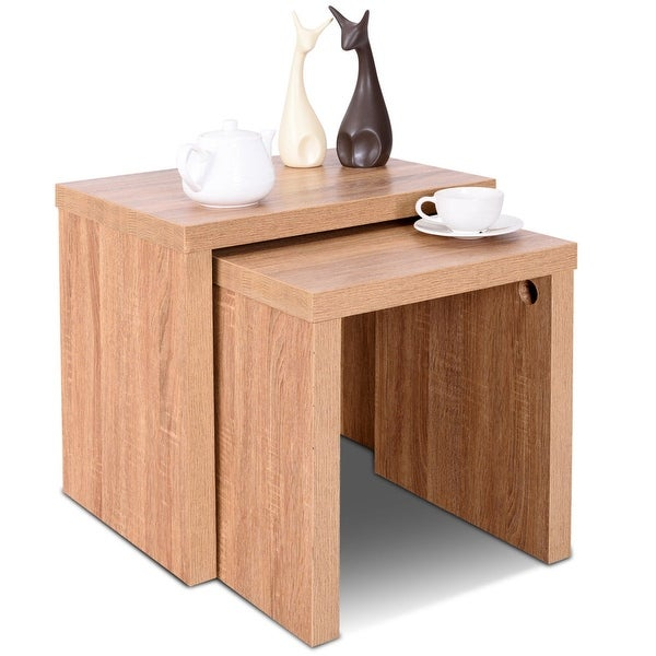 shop costway set of 2 nesting coffee end table side table