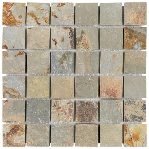 "SomerTile Crag Quad Sunset Slate 12"" x 12"" x 13 mm Natural Stone Mosaic Tile (5 tiles/5.11 sqft.) - CASE"
