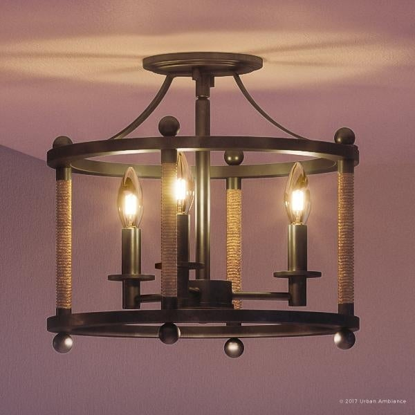 Luxury Rustic Semi Flush Ceiling Light 13 H X W With Country Style Ly Wound Rope Design Royal Bronze Finish