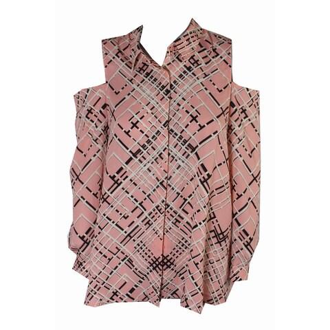 Alfani Pink Multi Printed Cold-Shoulder Blouse 8
