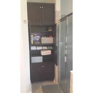 Baxton Studio Rhodes Dark Brown 4-door Shoe Cabinet