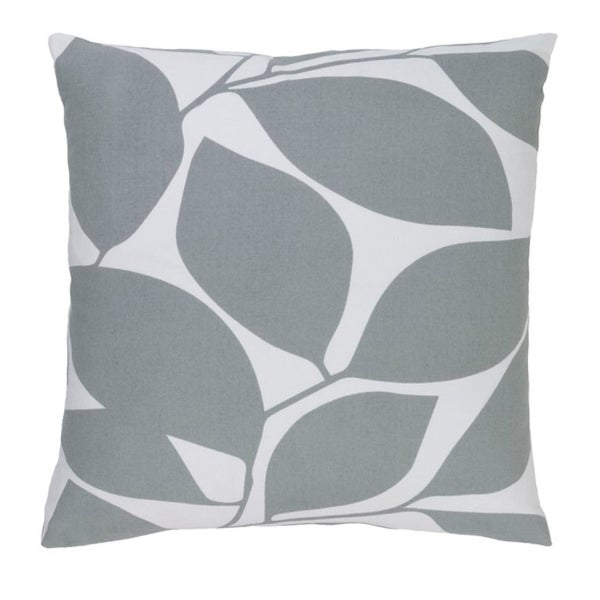 "18"" Lavish Leaves Pigeon and Timberwolf Gray Decorative Throw Pillow"