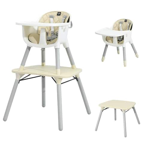 Babyjoy 4 in 1 Baby High Chair Convertible Toddler Table Chair Set w/