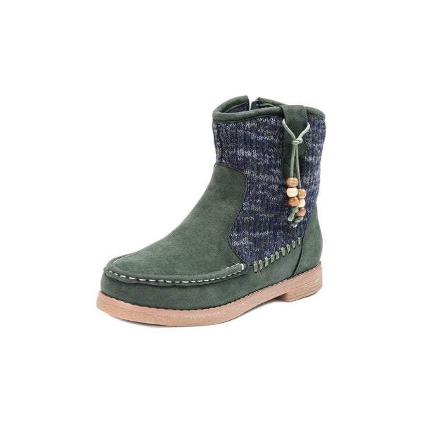 Muk Luks Boots Womens Kellie Ankle Beaded Army Green