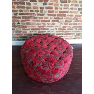 Shop Red Velvet 36 Inch Round Ottoman Free Shipping