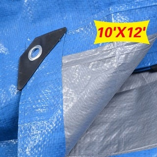 Super buy Tarp Canopy Reinforced Tarpaulin Heavy Duty w/ Grommets Blue 6 Size USA Stock