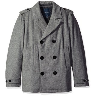 Nautica NEW Gray Mens Size Small S Military Double-Breast Wool Peacoat