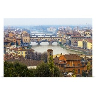 Poster Print entitled Florence, birthplace of Renaissance and masterpieces of art. - multi-color