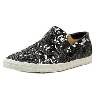 All Black Sequins Round Toe Canvas Sneakers